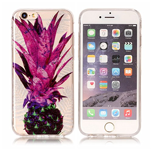 JAWSEU Coque Housse pour iPhone 6 Plus/6S Plus 5.5,iPhone 6S Plus Coque Transparent Bling,iPhone 6 Plus Etui en Silicone Cristal Clair,Homme Femme Ultra Mince Souple Tpu Case Cover Brillante Sparkles  Ananas