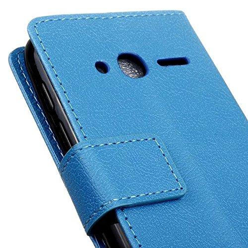 JIALUN-étui pour téléphone Solid Color Kasi Texture Housse en cuir PU Housse Flip Stand Case Portefeuille avec carte Cash Slots pour Alcatel PIXI 4 4.0 ( Color : White , Size : Alcatel PIXI 4 4.0 ) Blue