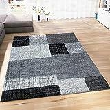 VIMODA Teppich Wohnzimmer Kurzflor Designer Teppiche in Schwarz Grau Weiß Kachel-Optik Kariert Pflegeleicht, Maße:80x150 cm