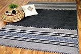 Navarro Natur Teppich Bauwolle Kelim Anthrazit Grau in 6 Größen