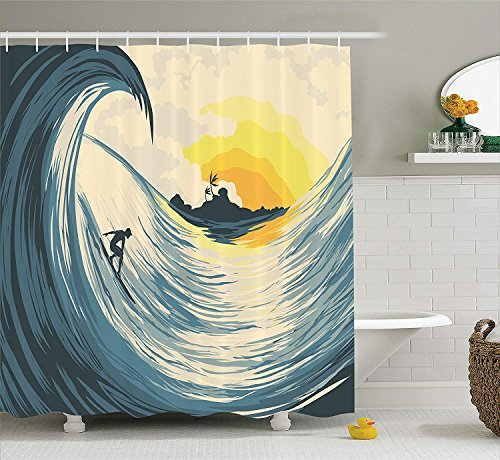 JAKE SAWYERS Ocean Decor Shower Curtain Set, Illustration of Cloudy Sky Tropical Island Wave and Surfer at Sunset Seascape, Bathroom Accessories, 84 inches Extralong, Beige Yellow Navy