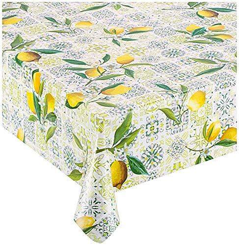 Emmevi tovaglia antimacchia cerata maiolica limoni plastificata retro felpato 12 misure copri tavolo cucina su misura mod.favola 310 140x240cm