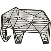 Kikkerland Baked Enamel On Steel Elephant Wall Mount Letter Organizer, Black