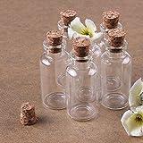 Musuntas - 8 Mini Bottiglie di Vetro con Tappo in Sughero, 10 ml, 22 x 50 mm
