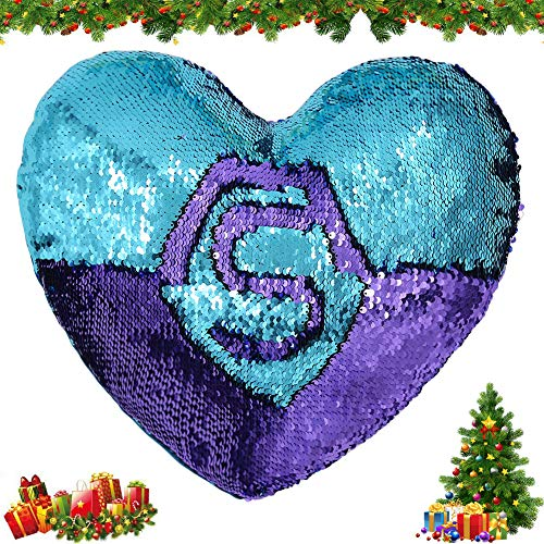 Tomus-UNI Mermaid Throw PillowsTwo-Color Reversible Sequins Mermaid Heart-Shaped Pillow Cover Insert 13\'\'×15\'\'(Bright Green/Purple)