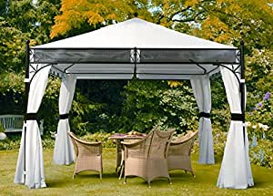 pavillon mit vier seitenw nden wei 350 x 350 cm 3 5 x sorara 250 g m. Black Bedroom Furniture Sets. Home Design Ideas