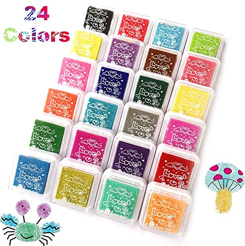 Tovee 24 colores Craft dedo almohadilla de tinta, Fingerpaint arco iris  lavable, juego de almohadillas para sellos de goma Partner Color Card  Making y
