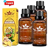 4 PCS New Lymphatic Drainage Ginger Massage Oil Plant Massage Essential Oil Massage Relaxation 100% Pure Natural Prime by Hilareco,(with English Instructions)