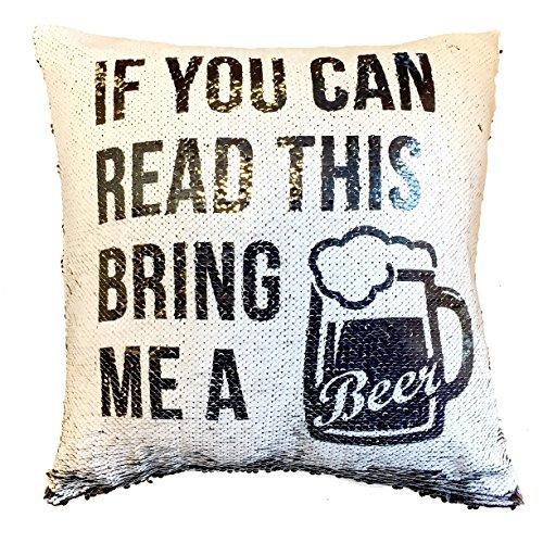 If You Can Read This Traing Me A Beer - Funda de cojín con mensaje oculto y divertido diseño de lentejuelas...
