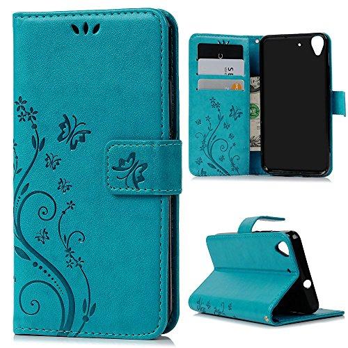 Mavis's Diary Huawei Y6 Cover Blu, Retro Fiore Modello Stampata Design Con Cinturino da Polso, (Cinghia Della Gomma Di Silicone)
