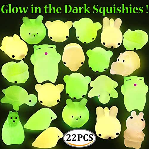 mini kawaii miniaturas kawaii Mochi Animal Stress Squishies, Outee 22 Piezas Mochi Squishy Glow en Dark Juguetes Suave Squishy Alivio de Estrés Juguetes de Animales Mini Kawaii Animal Squishies Mochi Squeeze Squishy