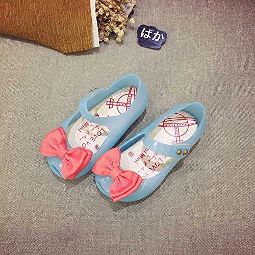Luminous Light Soft Soled Princess Schuhe Nette glänzende Mädchen Mädchen Schuhe Gelee Schuhe Bogen Prinzessin Schuhe Fisch Mund Baby Sandalen Schuhe Blau