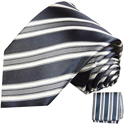 Dunkelblau gestreiftes Krawatten Set 2tlg 100% Seidenkrawatte + Einstecktuch