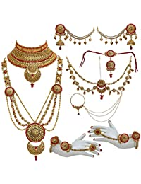 Lucky Jewellery Bridal Golden Red Color Alloy Gold Plated Wedding Jewellery Set For Girls & Women - B07CKQ9463