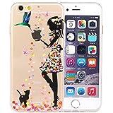JIAXIUFEN iPhone 6 6S Hülle, Amüsant Wunderlich Design TPU Silikon Schutz Handy Hülle Case Tasche Cover Handyhülle für Apple iPhone 6 6S - Flower Cute Girl