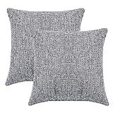 LATTCURE Kissenbezug aus Leinen und Baumwolle Kissenhülle mit Reißverschluss 2er Pack 45x45 cm (Hellrau)