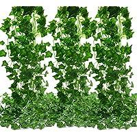 MZTD (12pcs x 2.1m) Hiedra Artificiales Artificial Hiedra Hojas Guirnalda Plantas Artificiales Verde Hojas de Balcón y Cerca, Oficinas Cocina Seda Guirnalda Decorativo, (12PCS*2.1M)