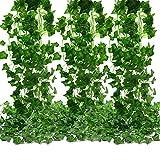 MZTD 12pz 2.1M Edera Artificiale Rampicante Pianta Ghirlanda Edera a Foglie Verdi Pianta(12 tralci * 2.1 metri) per Festa di Matrimonio e la Decorazione della Parete di Giardino Ufficio (12PZ*2.1M)