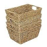 Set Of 4 Seagrass Rectangular Hamper Storage Baskets With Insert Handles