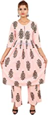 Star Product Girl's Hand Block Printed Cotton Dress with Long Palazzo Set