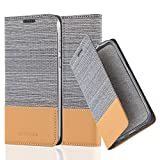 Cadorabo Hülle für HTC Desire 820 - Hülle in HELL GRAU BRAUN – Handyhülle mit Standfunktion und Kartenfach im Stoff Design - Case Cover Schutzhülle Etui Tasche Book