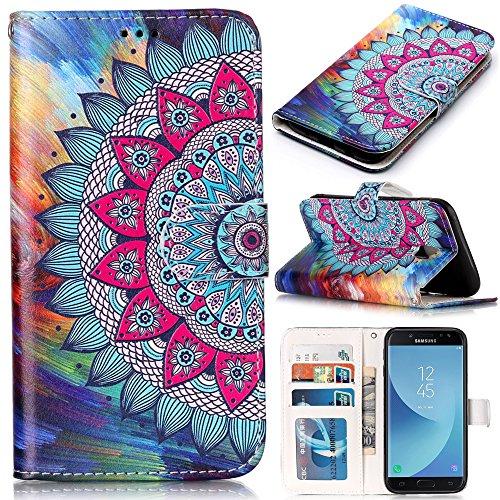 CLM-Tech kompatibel mit Samsung Galaxy J5 (2017) DUOS Hülle Tasche aus Kunstleder, PU Leder-Tasche Lederhülle, halbes Blumen Muster bunt
