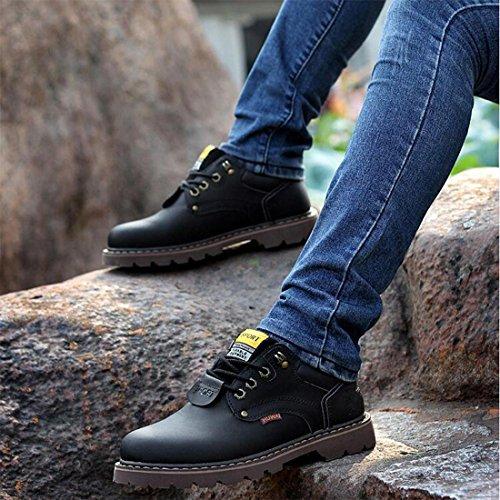 Scarpe da uomo in pelle d'autunno e inverno scarpe impermeabili Scarpe britanniche di Martin corto basso per aiutare a legare le scarpe di massa black