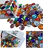 CRYSTAL KING 100 Stück 16mm große Glitzernde Bunte Runde Steinchen Deko Strass SteineBekleben Strasssteine Acrylsteine transparent klar kristall basteln Gltzersteine Strass Steine zum Verzieren