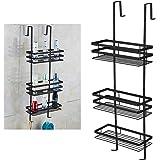UISEBRT Badplank doucheplank zonder boren - hangplank 80 cm 3 planken om op te hangen voor de douchehoek, hygiënisch, zwart