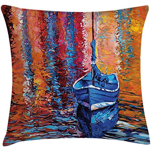 Throw Pillow Country Cushion Cover, Pastel Color Paint of Fishing Sail Boat in The Sea Dark Fairy Image Dramatic Art Work, Decorative Square Accent Pillow Case, Multi 22 X 22 Inches -