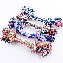 ECloud Shop® 4X admiten agarre de la pelota cuerda doble nudo nudos diente molar suministros cuerda de algodón de limpieza de mascotas de tamaño pequeño