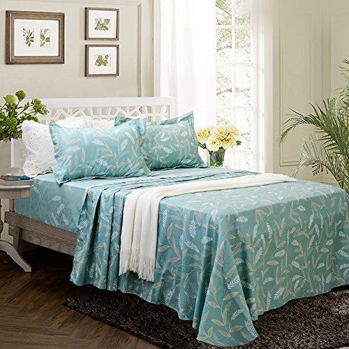 FADFAY 4-teiliges Shabby Floral Bettwäsche-Set Baumwolle Bettwäsche, Baumwolle, Teal Feather, Twin XL (Florale Bettwäsche Twin Xl)