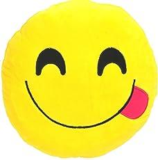 Balaji Fab Smiley Emoticon Yellow Round Cushion Stuffed Plush Soft Pillow - Heart Eyes