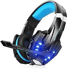 RsvpD Gaming Kopfhörer, Coole Serie Gaming Headset mit Mikrofon 3,5 mm 3D Surround On Ear, Verstellbare Lautstärkeregelung Kopfhörer für PC, PS4, Xbox