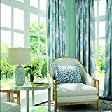 """ChadMade Blue Leaves Print Curtain 66"""" W x 102"""" L, Pinch Pleat Blackout Lining Darpes Panel For Bedroom Living Room Hotel Restaurant (1 Panel)"""