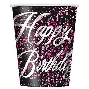 Unique Party Paquete de 8 Vasos de Papel, Color Rosa metálico Brillante, 266 ML (57476)
