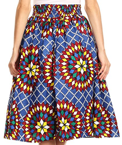 Sakkas Celine African Dutch Ankara Wax Druck Full Circle Rock 533-BlueMulti