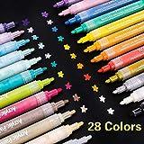 SUPERSUN 28 Farben Acrylstifte Marker Stifte, Acrylfarben Wasserfest Marker Holz Stift Farbe für Steine Bemalen, Holz, Leinwand, Fotoalbum, Glas, Metall (10 DIY Karten)