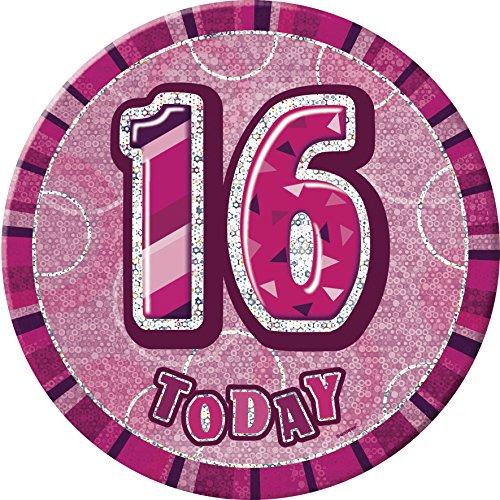 Glitz Insignia gigante de cumpleaños, 15,24 cm, rosa