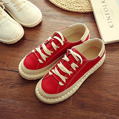 Calzature Donna Testa Bassa Flat Top In Pizzo Di Colore Solido Scarpe Per Il Tempo Libero Rosso