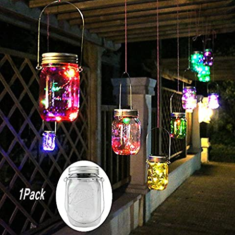 1Pack Colorful Solar Mason Jar Light Fairy Lights Jar Lid Insert with 10 LED Garden Decor Lamps Outdoor Rope Lights