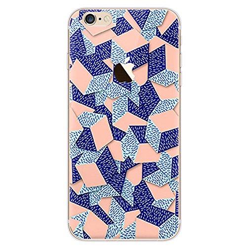 Bubblegum® pour les modèles iPhone Urban pixels Coque Collection–Coque de protection en TPU gel souple Coque artistique, 5: Leg0, iPhone 6 6s 3: Peach/Blue Cubes