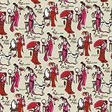 100% Baumwolle Stoff | Pink und Rot | Kollektion Fächer 'Paris Mode' | Stoffbreite: 140cm (0,5 m)
