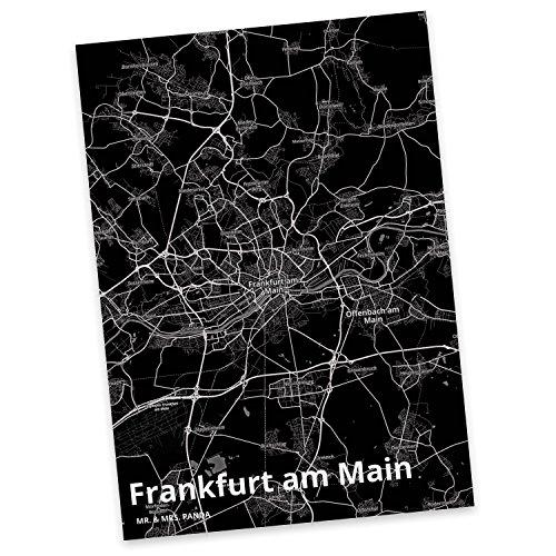 Mr. & Mrs. Panda Postkarte Stadt Frankfurt am Main Stadt Black - Stadt Dorf Karte Landkarte Map Stadtplan Sprüche, Ansichtskarte, Fan, Fanartikel, Souvenir, Andenken, Fanclub, Stadt, Mitbringsel