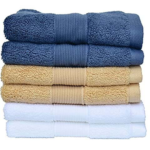 Set of 6 Luxury 700 GSM Egyptian Cotton Face Cloths ( 35cm x 35cm) - Multipurpose Use for Bath, Hand, Face, Gym and Spa - By YZL Towels (Set of 6 Cotton Face
