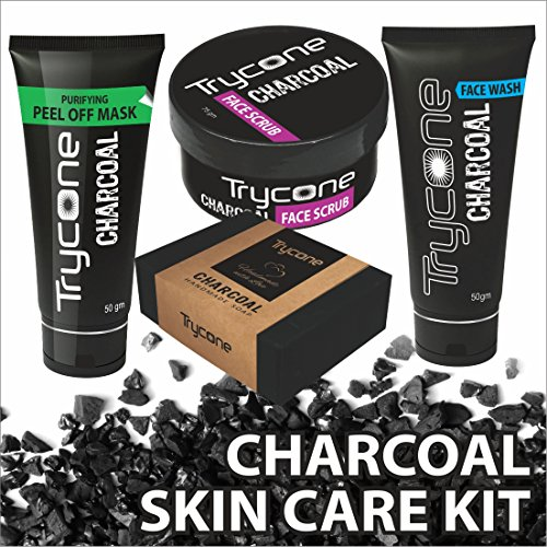 TRYCONE CHARCOAL PEEL OFF MASK, CHARCOAL FACE WASH, CHARCOAL SCRUB AND CHARCOAL SOAP FOR MEN AND WOMEN (Activated Charcoal Skincare Combo Pack Of 4) CHARCOAL KIT FOR GIFT (Without Wooden Box)