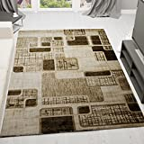 VIMODA Designer Teppich Modern Kariert, Retro Muster, Meliert in Braun Hellbraun Beige - ÖKO TEX Zertifiziert, Maße: 200x290 cm