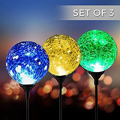 Crackling Glass Ball Solar Powered Colour Changing Weather Resistant Design Decorative Landscape Lights Wireless Outdoor LED Accent Light – Perfect Decoration For Garden/Yard/Path/Driveway Solar Ball Mood Lamp Lights Festive & # xFF08; IP65 & # xFF09,