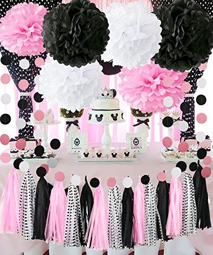 Minnie Maus Partydekorationen Minnie Maus 1. Geburtstag Party Dekorationen Pink Weiß Schwarz Seidenpapier Pom Kreis Girlande Quaste Blatt Minnie Maus DIY Dekoration für Braut- Baby Dusche Dekorationen (Diy Minnie Maus-dekoration)