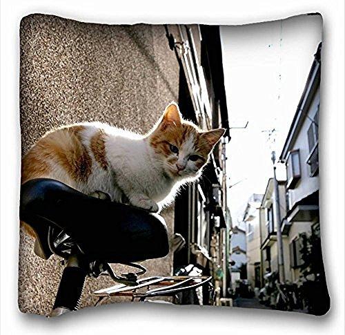 Decorativo Quadrato Throw Pillow Case animali gatto bicicletta rossa 18x 18in due lati